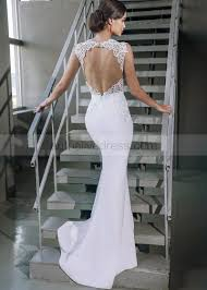 open back wedding dresses mermaid neck cap sleeves open back white lace satin