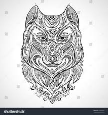 vector tribal style wolf totem tattoo stock vector 270838838