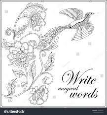 decorative flowers birds coloring book stock vector