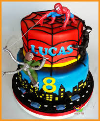 spiderman protects his cake from octoman and black spiderman