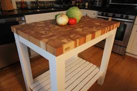 butcherblock end grain hickory butcher block top island cart