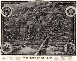 Map Of St Louis Area The Heart Of The City Of St Louis 1907