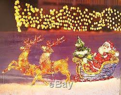 lighted santa sleigh reindeer outdoor holographic sculpture