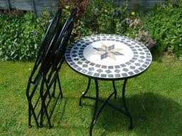 Garden Bistro Table 3 Metal Mosaic Garden Bistro Set With Black Cushions 60cm
