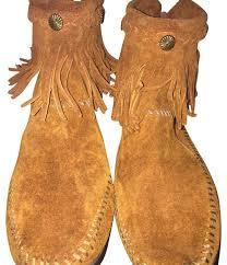 minnetonka fringe ankle camel boots from carolyni on tradesy