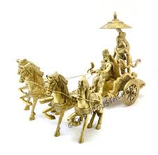 buy brass krishna and arjun on chariot showpiece online at low
