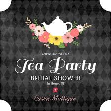bridal tea party invitation chalkboard flowers tea party bridal shower invitation