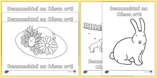happy easter colouring pages gaeilge roi lent easter 2017