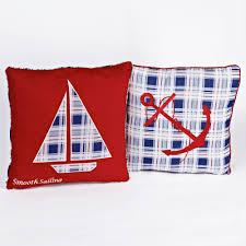 Sailboat Home Decor Stripe Nautical Throw Pillow Machine Washable Cotton Cover Zipper