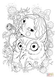 a with an owl coloring page free printable coloring pages