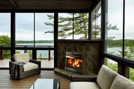 Screen Porch Fireplace by Screen Porch With Cozy Fireplace