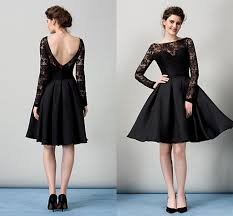 Draped Black Dress Black Short Cocktail Dresses Long Sleeves Open Back Draped Taffeta