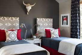Red Bedroom Accent Wall Gray Walls And Red Accents Bedroom Contemporary With Twin Beds