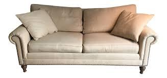 ethan allen linen hastings sofa chairish