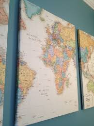 Mapping The World With Art by How To Make Put A Map On Canvas For Art What About Using Pins Or