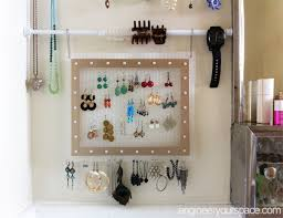 small bathroom jewelry storage with tension rods smart diy