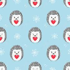 hedgehog wrapping paper hedgehogs with hearts seamless pattern vector background for