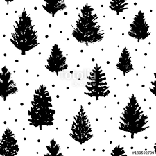 seamless pattern with christmas trees sketches