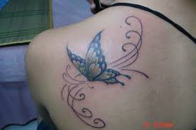 color 3d butterfly and flower tattoos on shoulder blade photos