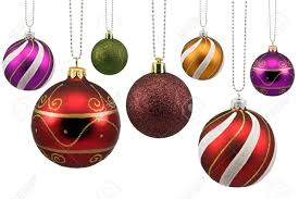colorful ornate baubles isolated on white stock photo