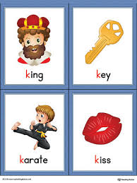 letter k words and pictures printable cards king key karate