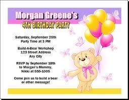 build a teddy bear birthday party invitation