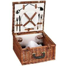 picnic basket set for 2 household essentials woven willow square shaped 2