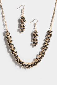 gold necklace with earrings images Gold black beaded necklace earrings set jpg