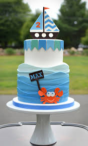 2 year birthday 2 year birthday cake with waves sailboat and crab