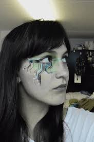 cyborg robot eye circuit board face paint for halloween hallo
