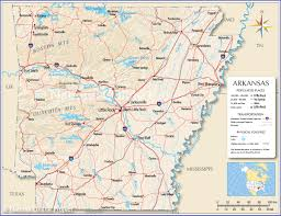 United States Map With Rivers Lakes And Mountains by Reference Map Of Arkansas Usa Nations Online Project