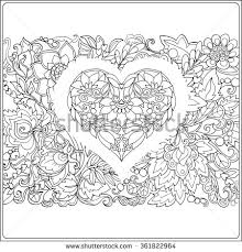 hand drawn floral pattern decorative love heart