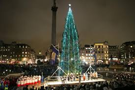 trafalgar square christmas tree sparkles following light switch on