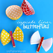 Butterfly Crafts For Kids To Make - learn how to make a cupcake liner butterfly using a clothespin