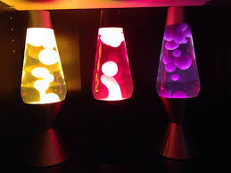 three sixteen inch lava lamps from left to right clear liquid