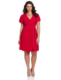 red short plus size party dresses with short sleeves and collar
