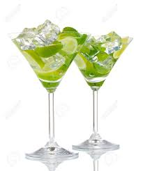 martini mint glasses of cocktail with lime and mint isolated on white stock