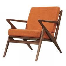 Burnt Orange Accent Chair Zain Mid Century Modern Orange Fabric Chair With Wooden Walnut
