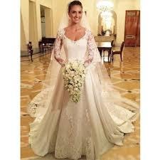 modest mermaid long sleeves lace wedding dress