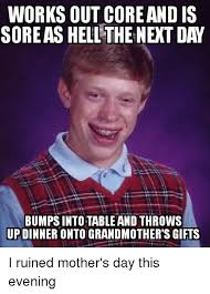 Meme Grandmother Gifts - works out core and is sore as hellthe next day bumps intotable and