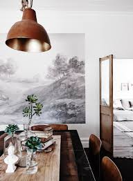 rustic industrial dining room with wall mural pictures photos rustic industrial dining room with wall mural