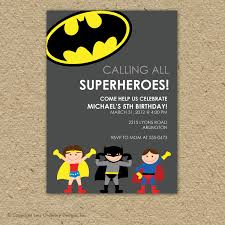 custom super hero birthday party invitation superman or batman
