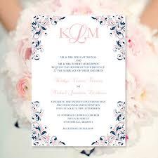 print your own wedding invitations blush pink navy wedding invitation kaitlyn