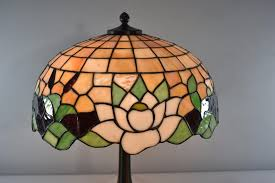 antique leaded glass lamp cattails water 18