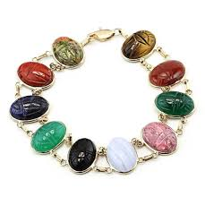 gemstone link bracelet images 14k yellow gold scarab bracelet double link with oval gemstones jpg