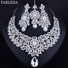 necklace earrings chain images Farlena wedding jewelry clear crystal rhinestones necklace jpg