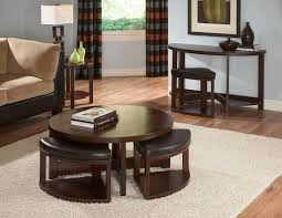 nice simple round sofa table with stools modern sofa table with