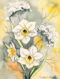original watercolor painting watercolor and ink jonquils yellow