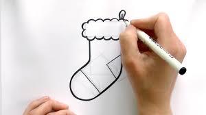 how to draw a cartoon christmas stocking youtube