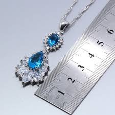 blue zircon jewelry necklace images 925 sterling silver women 4pcs jewelry set natural blue zircon jpg